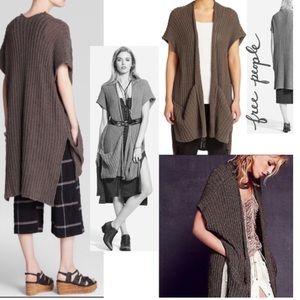 Free People Sloppy Pocket Sleeveless Knit Duster
